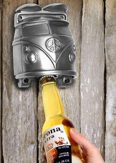 VW Wall Mounted Bottle Opener - Silver   NuCasa UK