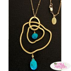 Cascade Necklace with turquoise stones  Apparel & Accessories > Jewelry > Necklaces