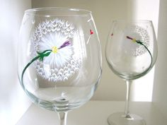2 Dandelions and Hearts Wine Glasses Hand Painted by MeKu on Etsy, $40.00
