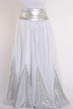Sequin Insert 10 Pannel Denier Double Circle Skirt - Rejoice Dance Ministry