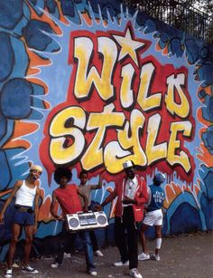 Rock Steady Crew in front of Wild Style by Zephyr and Revolt (Manhattan), 1983.
