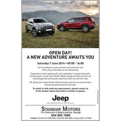 Open Day! A new adventure awaits you. You are invited to come and test-drive the all-new 2014 Jeep Cherokee at our dealership. Saturday 07 June 2014, 09:00 to 14:00 #jeep #teamstanmar #testdrive