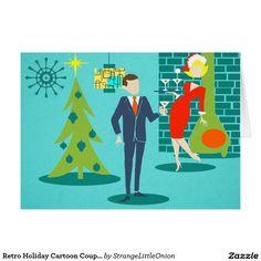 Retro Holiday Cartoon Couple Christmas Card
