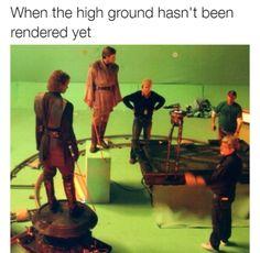 When the high ground hasn't been rendered yet Star Wars meme