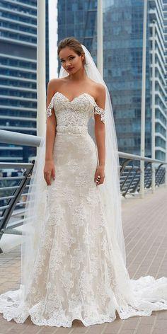 lanesta wedding dresses off the shoulder strapless lace with veil 2018 #weddingdress