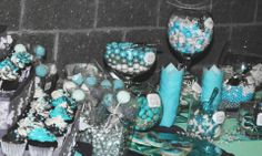 Tiffany and gray candy bar, Blue amd gray wedding.