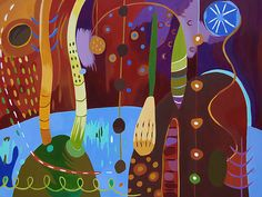 """""""Carnival Forest"""" Acrylic Painting  Created by Teresa Cox One of a Kind This painting combines elements of movement, topography and mystery. Acrylic on smooth wood panel with painted sides. Ready to hang."""