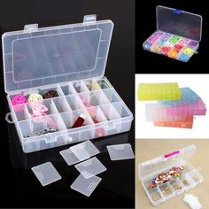 10/15/24/28 Slots Adjustable Storage Box Plastic Case Jewelry Beads Organizer #HOURONG