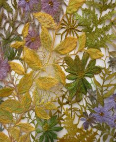 Sue Rangeley, textile artist, i like the contrasting colours between the purple, green and yellow of the leafs.