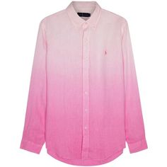 Polo Ralph Lauren Pink slim dégradé linen shirt ($155) ❤ liked on Polyvore featuring men's fashion, men's clothing, men's shirts, men's dress shirts, mens slim fit shirts, mens dress shirts, mens button down collar dress shirts, mens linen dress shirts and mens embroidered dress shirts