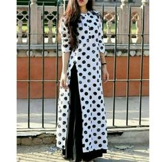 White and Black Polka Dot Stitched Kurti Printed Kurti Designs, Simple Kurti Designs, Kurta Designs Women, Sleeves Designs For Dresses, Dress Neck Designs, Blouse Designs, New Designer Dresses, Indian Designer Outfits, Gilet Long