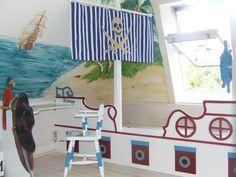 Skull banner, Little Boy's Nautical/Pirate Bedroom HET bed idea Pirate Bedding, Pirate Nursery, Pirate Bedroom, Nautical Bedroom, Nursery Themes, Room Themes, Nursery Room, Boy Room, Kids Bedroom