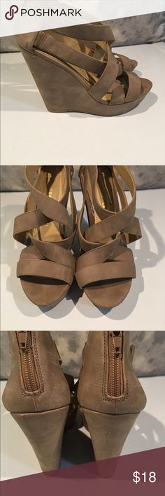 Beautiful Chinese Laundry Tan Wedges size 7 These are beautiful!!! Gently worn. We are cleaning out closets and have many designer items to sell. Priced to sell. Size 7 Chinese Laundry Shoes Wedges