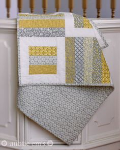 Jaybird Quilts Radio Way Pattern with Yellow and Gray Fabric | AuntieEmsCrafts.com