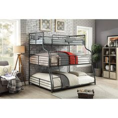 Harriet Bee Prather Twin Over Full Over Queen Triple Bunk Bed This Prather Twin Over Full Over Queen Triple Bunk Bed is the ultimate space-saving bed. Crafted from durable metal, the triple bunk bed features a bold metal piping design with rugged panel. Queen Bunk Beds, Twin Bunk Beds, Kids Bunk Beds, Boys Bedroom Ideas With Bunk Beds, Twin Futon, Loft Beds, Bunk Beds With Stairs, Cool Bunk Beds, Triple Bunk Beds