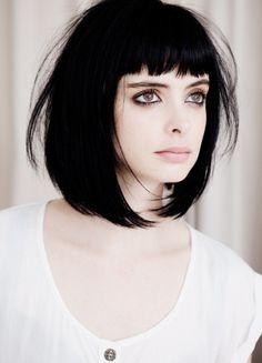 Bob with blunt bangs.. This is what my hair looks like but not as dark!