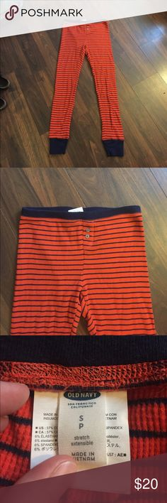 Old navy thermal pants EUC worn one time basically new. Bright orange red color with dark blue accents. Size small Intimates & Sleepwear Pajamas