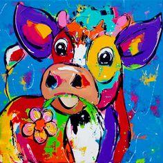 Cow Pictures, Colorful Pictures, Farm Cartoon, Cow Painting, Painting Canvas, Cow Art, Happy Paintings, Arte Pop, Watercolor Animals