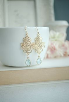 Gold Boho Filigree Aqua Blue Crackled Glass Drops by Marolsha