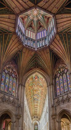 The Lantern viewed from the octagon with the nave ceiling in the background in Ely Cathedral, Cambridgeshire, England. Architecture Antique, Cathedral Architecture, Sacred Architecture, Beautiful Architecture, Beautiful Buildings, Ely Cathedral, Gothic Cathedral, Peterborough, Chapelle