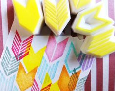 hand carved rubber stamps by talktothesun. set of 5 chevron rubber stamps. geometric pattern + shape stamp series for you diy crafts + bullet journals. Diy Stamps, Handmade Stamps, Etsy Handmade, Scrapbooking Journal, Eraser Stamp, Stamp Carving, Diy Inspiration, Stamp Printing, Paper Crafts