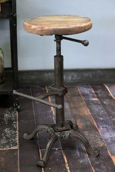 Adjustable Wooden Top Bar Stool from Rockett St George