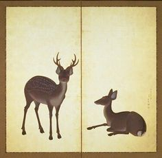 Deer, by Maruyama Okyo, Edo Period, 18th c, Kyoto National Museum. Two-panel Japanese folding screen. In this painting, only two deer are depicted, and all the rest of the screen is coated with gold foil. The depictions were carried out in a realistic style which Okyo was skilled at. The decorative style in the tradition of Sotatsu and Korin with the use of accurate realism are well combined in this painting.