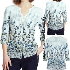 3/4 Sleeve Crinkle Floral Border Blousesize 12 14 16 20 #7000 www.questworld.com.ng pay on delivery in lagos. Nationwide Delivery