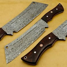 Damascus Chef Knives, Damascus Knife, Damascus Steel, Butcher Knife, Shaving Razor, Folding Knives, Kitchen Knives, Etsy Shop, Wood