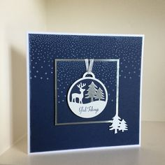 Die cut bauble from Merry Tags Framelits with stamped snowy background and sentiment from Merriest Wishes - created by Julia Jordan