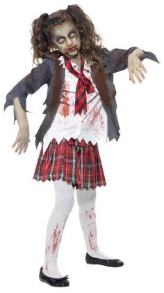 Zombie School Girl Costume - Zombie school is in session on Halloween with this ghoulish costume. The costume includes a blood splattered shirt, tie, jacket, and tartan skirt.