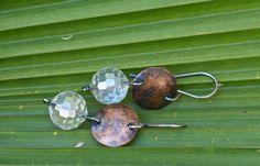 Glass earrings Copper earrings Silver earrings by FlowerOfParadise