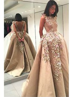 Elegant Bateau Backless Floor-Length Appliques Champagne Ball Gown Floral Luxury prom dress ItemY20031 #elegant #bateau #backless #floolength #appliques  #prom #champagne #ballgown #floral