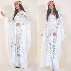 Vintage Lace Draped Caftan Hippie Boho Gypsy Festival One Size Tunic Maxi Dress