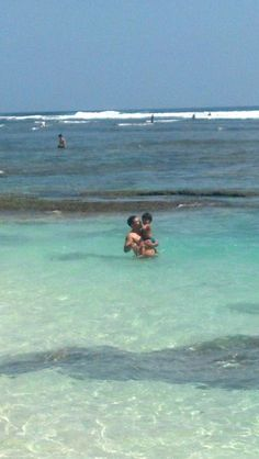 My boys .. jumped right into the clear blue water. - Bluepoint Beach Uluwatu, Bali.