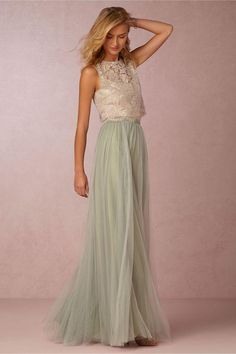 2016 Vintage Two Pieces Crop Top Bridesmaid Dresses Tulle Ruched Floor Length Blush Mint Grey Bridesmaid Gowns Lace Wedding Party Dress Bridesmaid Cheap Bridesmaid Dresses From Officesupply, $92.43| Dhgate.Com