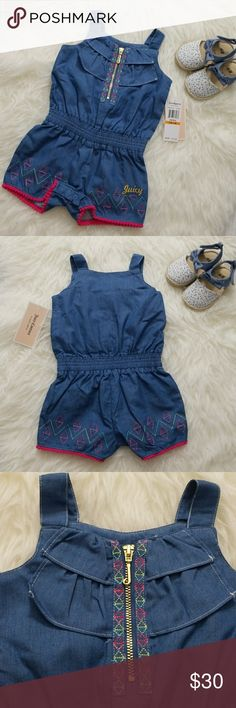 JUICY Baby Girl Romper 💙 60% Cotton, 40% Polyester  Shoes are not included. Juicy Couture One Pieces