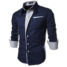 Men's Striped / Solid Casual / Work / Formal Shirt,Cotton Long Sleeve Black / Blue / Red / White - EUR € 9.30