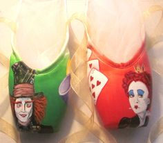 Hand painted Alice in Wonderland pointe shoes
