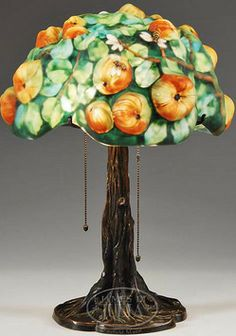 Puffy  Lamp     lighting, Connecticut, A Pairpoint Puffy Apple Tree shade table lamp ...