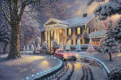 """That is the spirit of """"Graceland Christmas"""", my second portrayal of the famous Graceland mansion. Here we see Elvis gathering presents in his role as family Santa. As he unloads gifts from the famous pink Cadillac, we are captivated by the twinkling tree lights that suggest the magic of the season."""