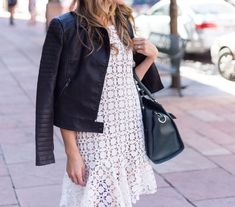 Love this! Drop waist dress and leather jacket! #camidress