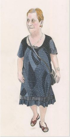 woman with black patchwork dress