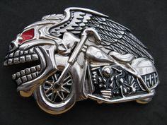 Skull Chopper Biker Bikers Chain Motorcycle Evil Belt Buckle Buckles