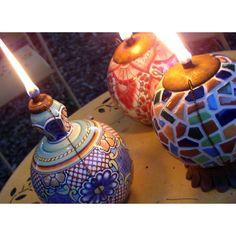 Festive Mexican Pottery Tiki Torches! Perfect for Cinco de Mayo  :-)