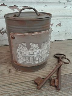 Craft Projects, Projects To Try, Recycled Jars, Tin Can Crafts, Metal Box, Repurposed, Creations, Scrap, Gisele