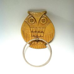 VIntage OWL TOWEL HOLDER / Yellow and Gold by SugarlilyVintage, $14.50