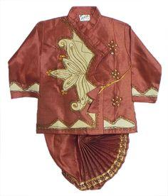Embroidered and Stone Studded Rust Color Kurta and Pyjama Dhoti  (Silk Tussar)
