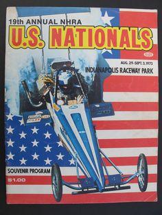 1973 NHRA 19TH U.S. NATIONALS SOUVENIR DRAG RACING EVENT PROGRAM - T/F F/C P/S   #funnycar #Topfuel #dragracingprogram