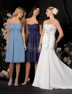 Jordan Bridesmaid Style 635.   Knee length Chiffon baby doll silhouette. Draped empire bodice with softened sweetheart neckline. Optional spaghetti straps and stole included.   $123 at RK Bridal